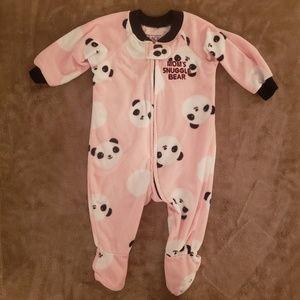 Baby Girl Fleece Pink Panda Zipper Onesie